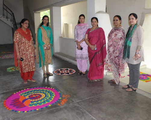 Rangoli Competition organises at Kamla Nehru College for Women